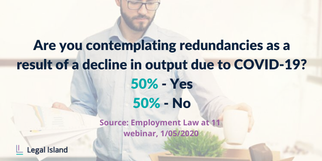 50% Yes 50% no, contemplating redundancies as a result of a decline in output due to COVID-19