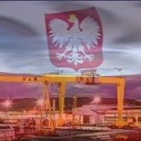 Polish Flag Over Harland & Wolff Cranes